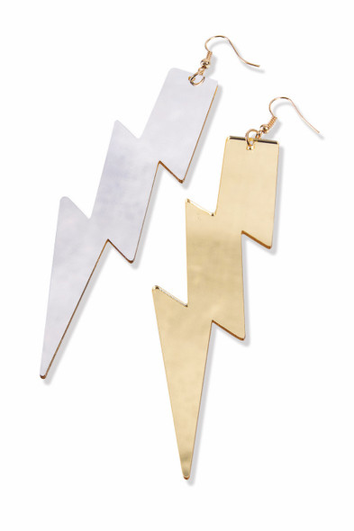 Be Your Own Hero Womens Lightning Bolt Earrings Silver Gold Mirrored Reversible