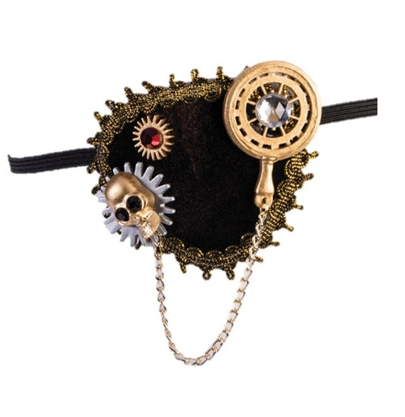 Steampunk Buccaneer Eye Patch Pirate Costume Accessory Skeleton Head Skull