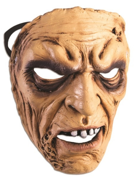 Angry Man Frontal Face Mask Scary Old Grandpa Halloween Adult Costume Accessory