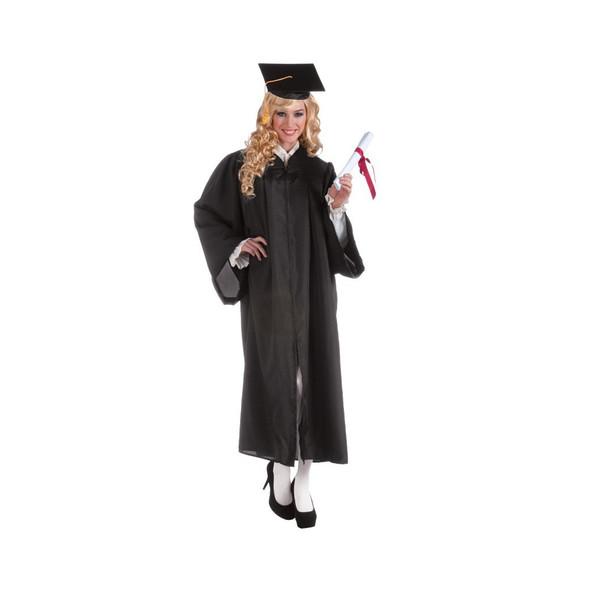 Graduation Robe Unisex Grad Gown Black Adult Costume Accessory One Size