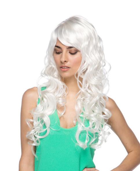 High Quality Melrose White Long Curly Lolita Costume Wig with Side-Swept Bangs