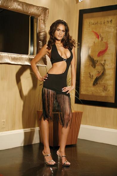 Elegant Moments Womens Sexy Black Dress Halter Fringe Lingerie Dress XL 14-16