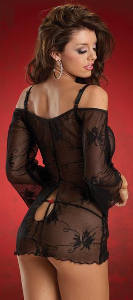 Escante Women's Black Lace Dress Keyhole w Rosettes Lingerie Large 10-14