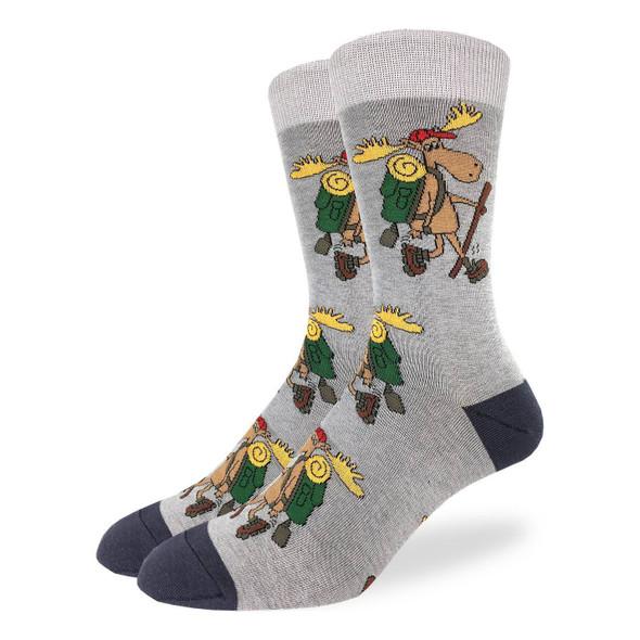 Good Luck Sock Hiking Moose Crew Socks Adult Shoe Size 7-12