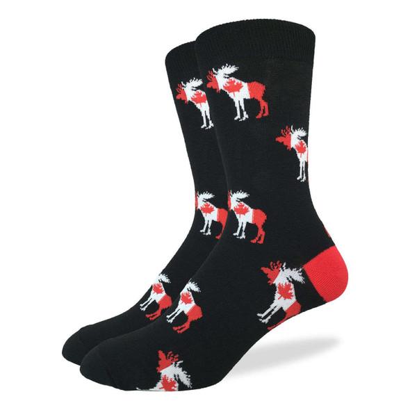 Good Luck Sock Canada Moose Crew Socks Adult Shoe Size 7-12 Canadian Flag Maple