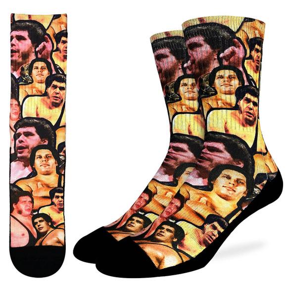 Good Luck Sock Andre The Giant Wrestler Crew Socks Adult Men's Shoe Size 8-13