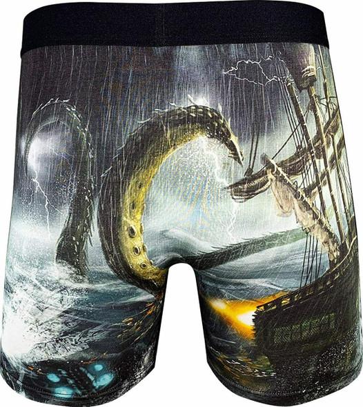 Good Luck Undies Kraken Boxer Brief Underwear No Chafe Anti Roll Waistband LG