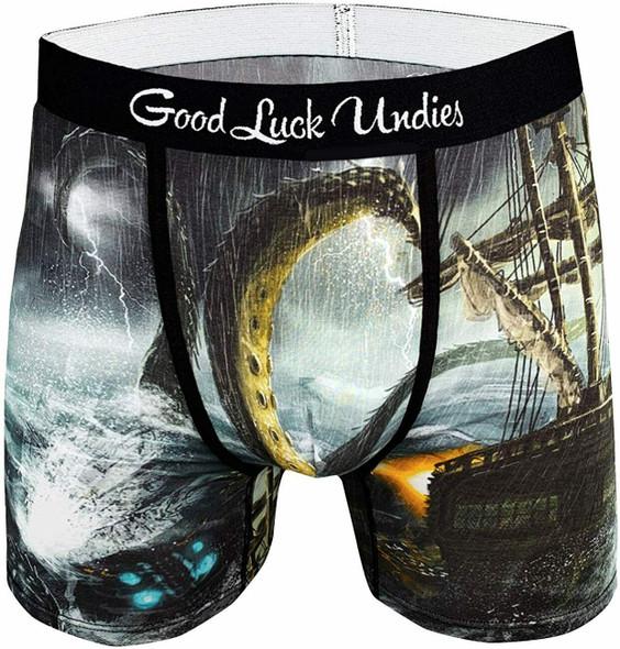 Good Luck Undies Kraken Boxer Brief Underwear No Chafe Anti Roll Waistband MD