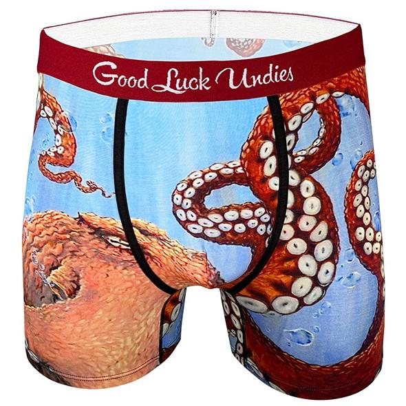 Good Luck Undies Octopus Men's Boxer Brief Underwear No Chafe Anti Roll Band MD