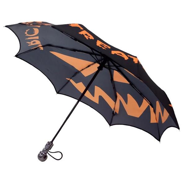 Kreepsville Skull Handle Trick Or Treat Umbrella Compact Pumpkin Pop Up Gothic