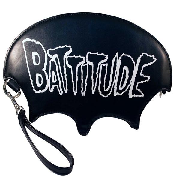 Kreepsville 666 Battitude Wristlet Purse Bat Skeleton Black Gothic Fashion Bag