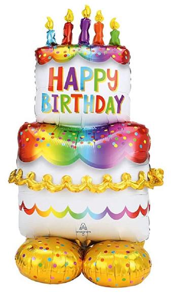 "Airloonz 53"" Happy Birthday Cake Foil Mylar Air Balloon Party Decor Supply"