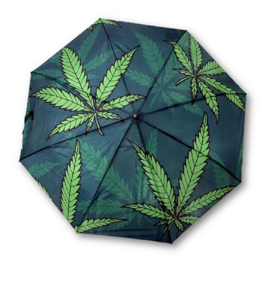 Weed Compact Telescopic Umbrella Hemp Leaf Green Leaves Print Accessory
