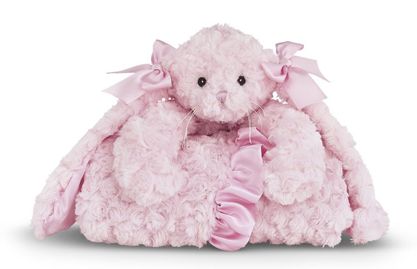 The Bearington Baby Collection Cuddle Me Cottontail Bunny Pink Stroller Blanket