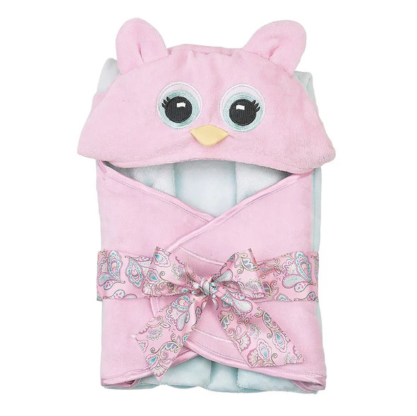 The Bearington Baby Collection Lil' Hoots Pink Owl Hooded Baby Bath Towel