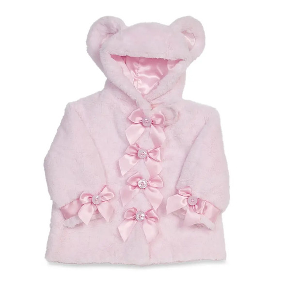 The Bearington Collection Huggie Teddy Bear Plush Pink Coat 6-12 Months Baby