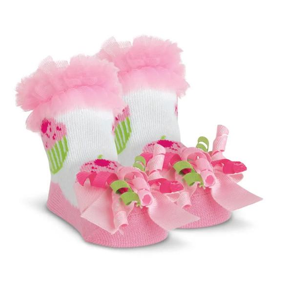 The Bearington Baby Collection Cupcake Birthday Pink Socks 0-12 Months