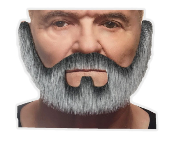 White & Grey Mustache & Beard Set 3M Self Adhesive Facial Hair Mens Old Man King