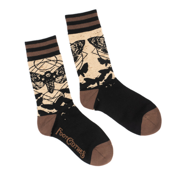 Foot Clothes Dark Soles Line Death's Head Hawkmoth Crew Socks Adult Size 5-13