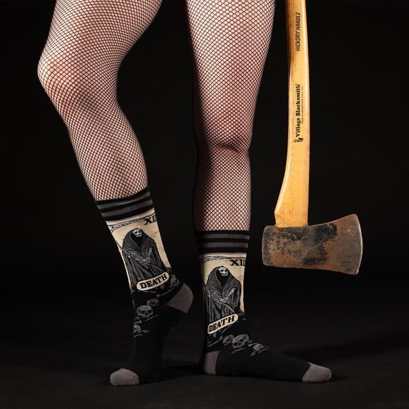 Foot Clothes Dark Soles Line Death Tarot Card Crew Socks Adult Size 5-13