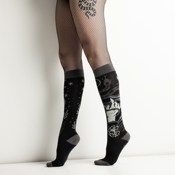 Foot Clothes Dark Soles Line Serpentine Witch Knee High Socks Adult Size 5-13