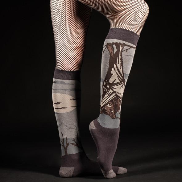 Foot Clothes Dark Soles Line Bat Knee High Socks Adult Size 5-13