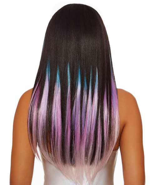 """Dreamgirl 24"""" Long Straight Layered Clip In Hair Extensions Pink/Purple/Blue"""
