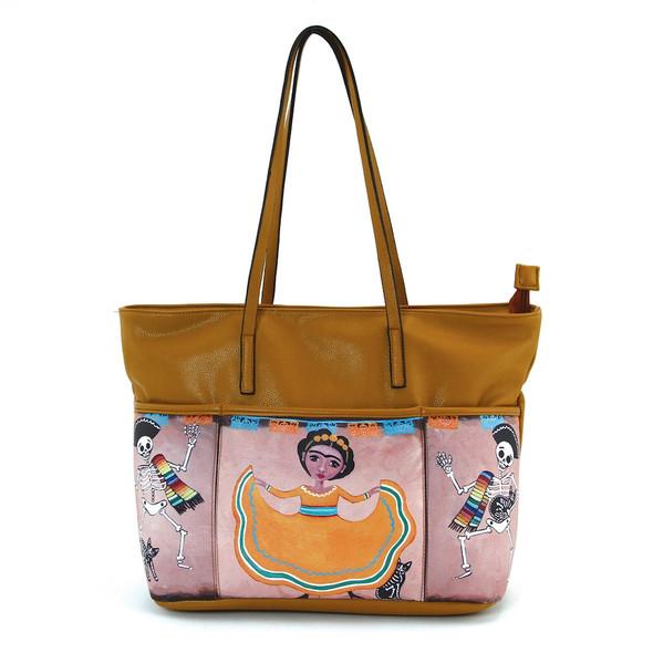 Three Pocket Frida and Mariachi Skeletons Tan Tote Bag Handbag Purse