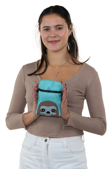 Comeco Inc. Sleepyville Critters Blue Sloth Small Crossbody Pouch Vinyl Purse