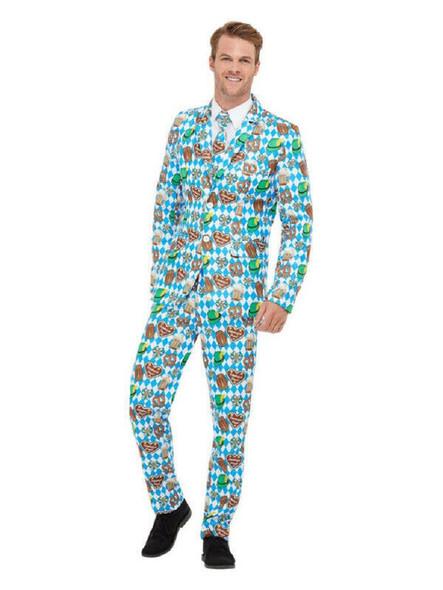 Smiffys Stand Out Oktoberfest Suit Adult Mens Fun Jacket Pants Tie MEDIUM