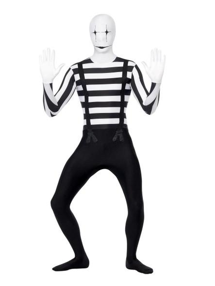 Mime Second Skin Costume Adult Men's Creepy Clown Black & White w Bum Bag MD-LG