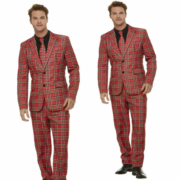 Smiffys Stand Out Red Plaid Tartan Suit Adult Mens Fun Jacket Pants Tie LARGE