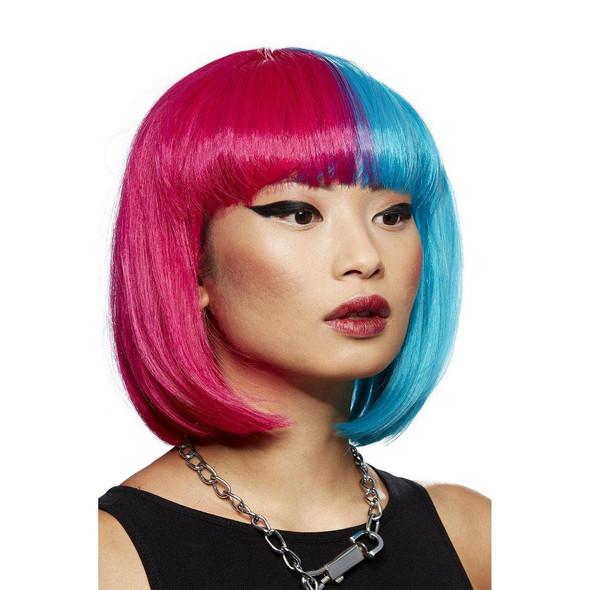 Smiffys Manic Panic Glam Doll Blue Valentine Short Bob Wig Heat Styleable