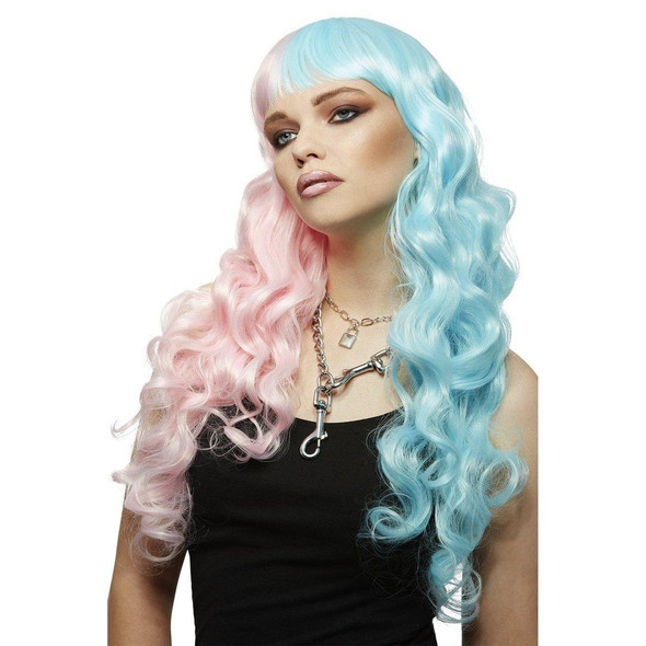 Smiffys Manic Panic Siren Cotton Candy Angel Long Curly Wig Heat Styleable