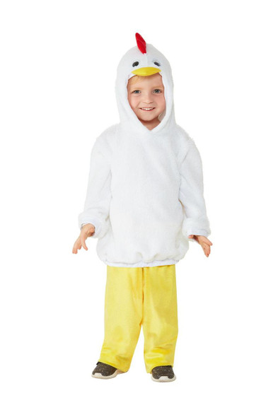 Smiffys Chicken Costume All In One Hood & Trousers Toddler Size 3-4