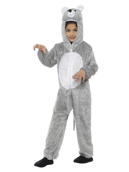 Cute Grey Mouse Hooded One Piece Child Costume Kids MEDIUM 7-9