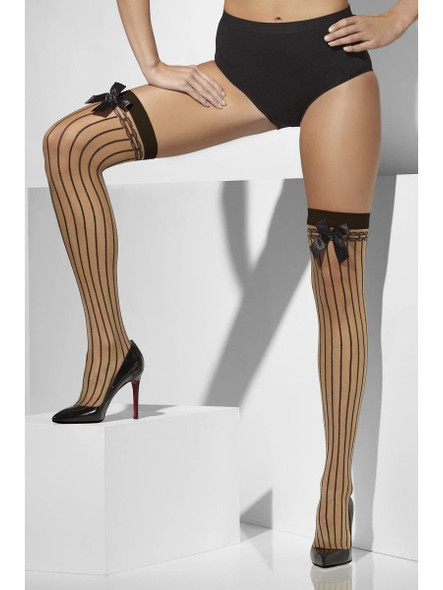 Smiffys Fever Hosiery Sheer Hold-Ups Vertical Stripes & Bows Nude Womens One Size