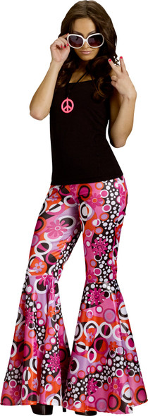 The Groovy 60's Adult Women Hippie Bell Bottoms Costume Accessories Pants SM-MD