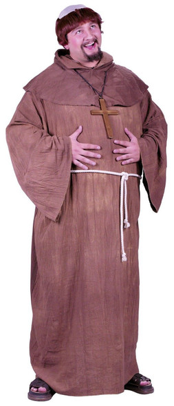 Medieval Monk Costume Hooded Cowl Bald Wig Friar Tuck Adult Plus Size Brown
