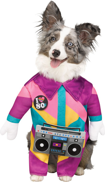 Paw Prints 80s Dog Funny Pet Walking Costume Rapper Tracksuit Boombox SMALL