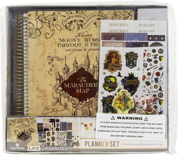 Harry Potter Marauder's Map 12 Month Planner Set Undated Stickers & Clips