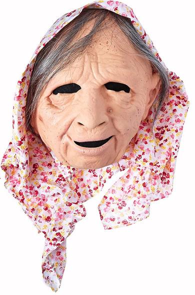 Zagone Charming Old Lady Mask Kerchief Grey Hair Halloween Costume Accessory New
