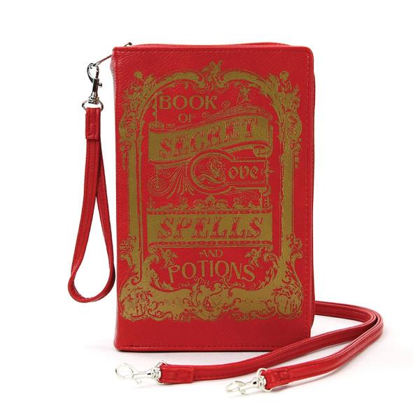 Book of Love Spells Red Clutch Bag Purse Wristlet Vintage Look Vinyl