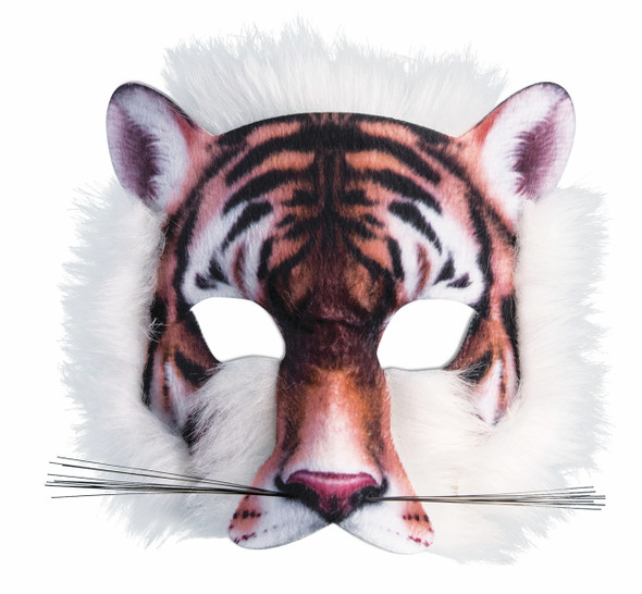 Tiger Mask 3D Screen Print Realistic Look Soft Face Mask Fun Fur Adult Or Child