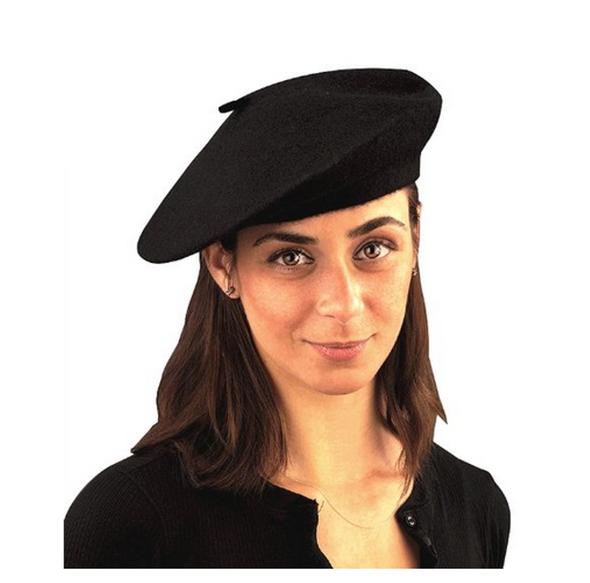 Beatnik Scene Trendy Knit Black French Beret Hat Costume Accessory Adult Women