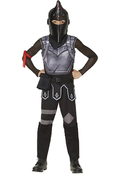 Fortnite Black Knight Youth Child Costume Boys Jumpsuit Gamer Outfit LARGE