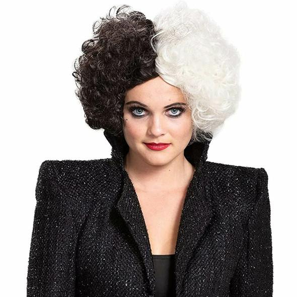 Licensed 101 Dalmatians Cruella Live Action Costume Wig Women's Black White