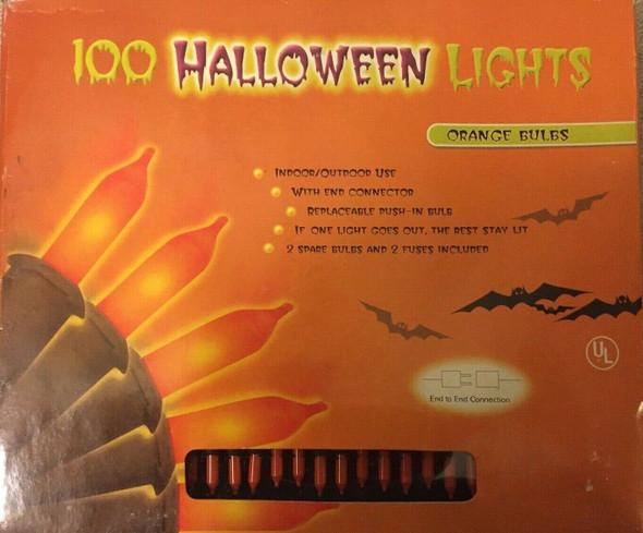 100 Halloween String Lights Orange Party Lighting Indoor/Outdoor