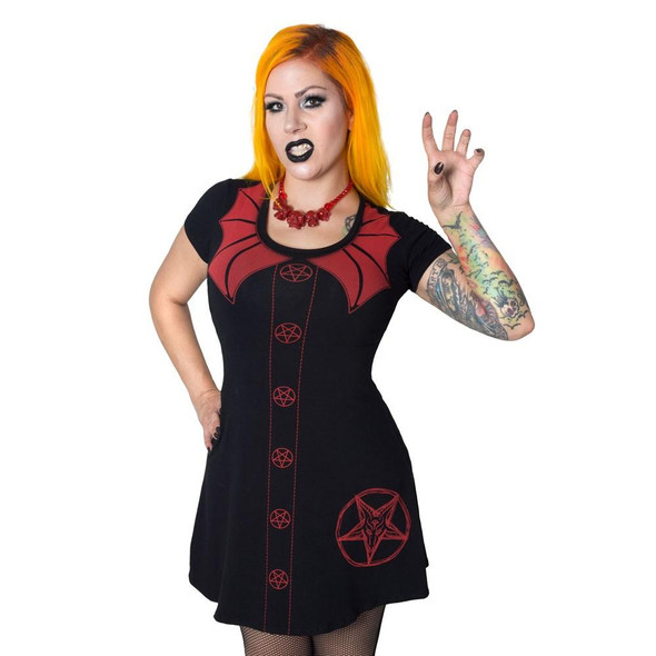 Kreepsville Demon Doll 3/4 Sleeve Women's SM Halloween Flare Dress