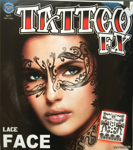 Tinsley Transfers Lace Face Sexy Temporary Tattoo Halloween FX Makeup